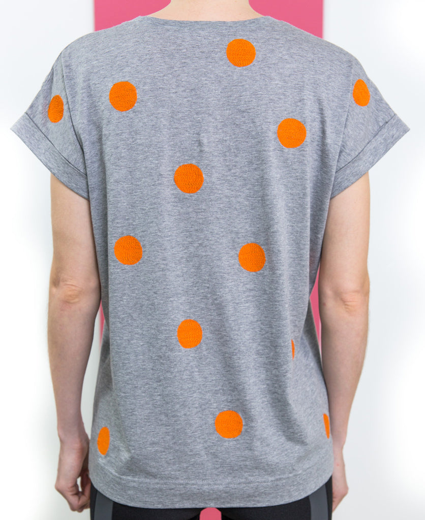 Folk orange polka dot spot grey marl tee shirt tshirt from The Cycling Store