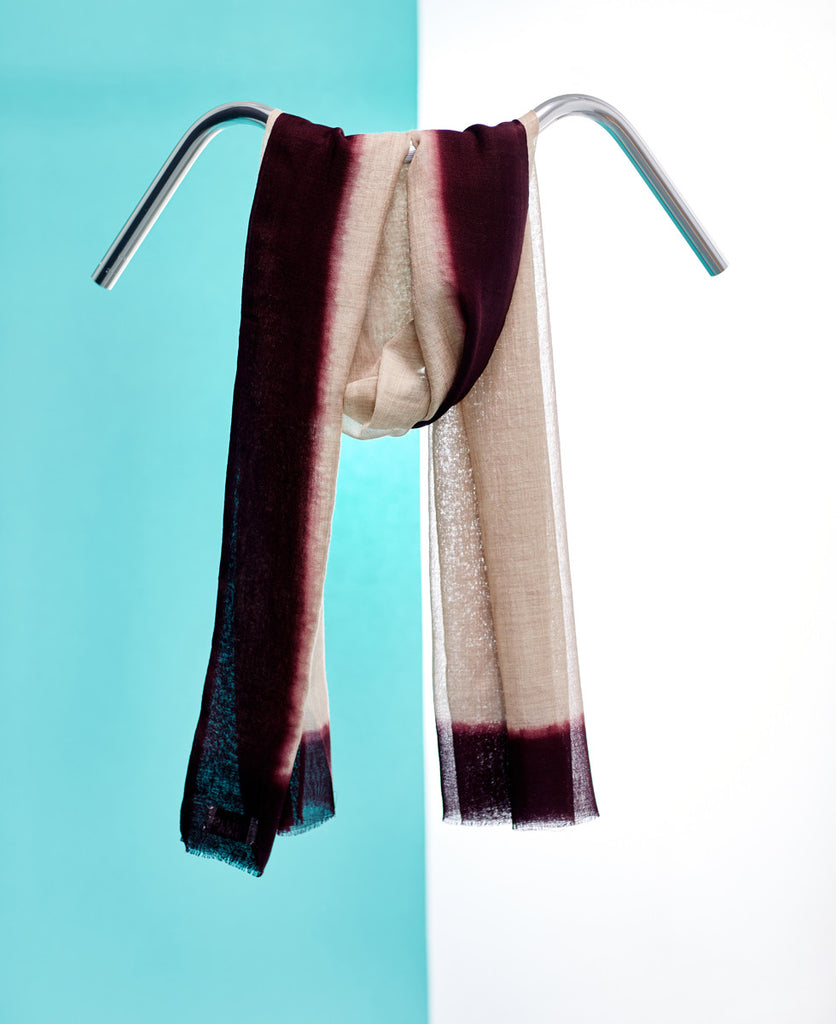 Silk hand dyed linen purple summer scarf from The Cycling Store