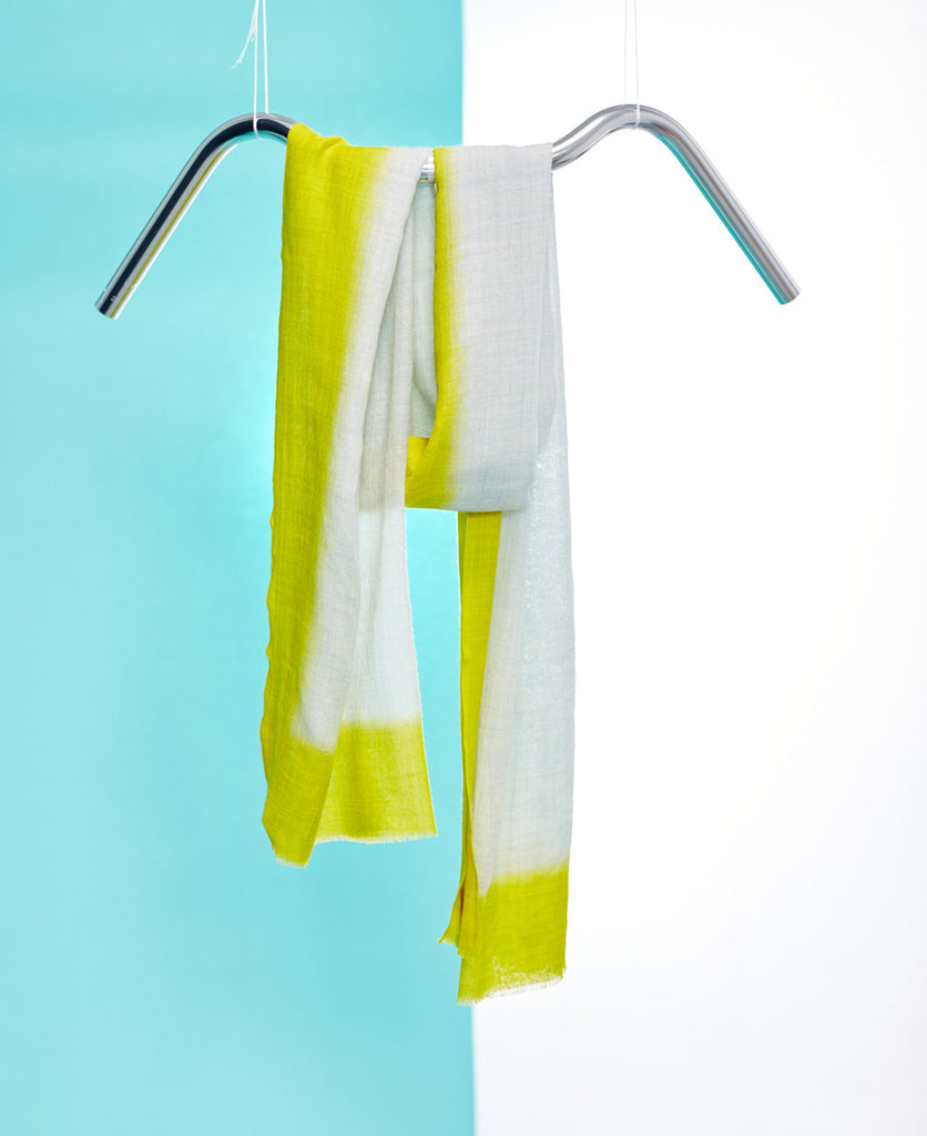 Silk hand dyed linen yellow summer scarf from The Cycling Store
