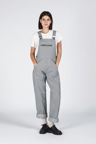 Kate Sheridan grey and white stripe cotton drill overalls from The Cycling Store