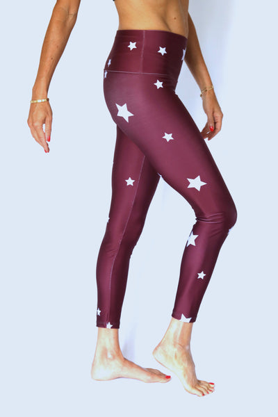 Burgandy Starstruck Yoga Pants