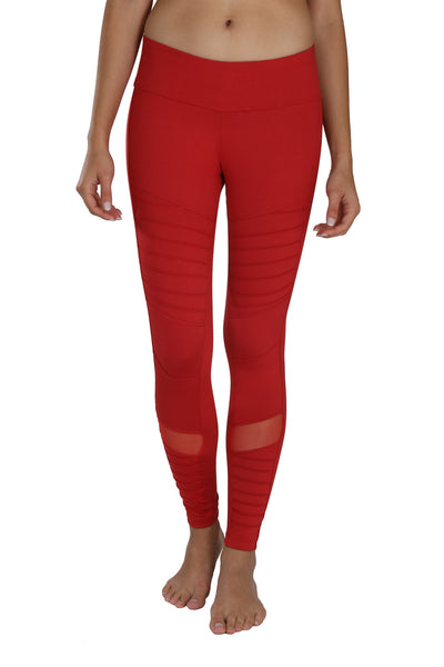 Moto Mesh Legging - Red