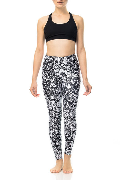 Black and White Lace Yoga Pants