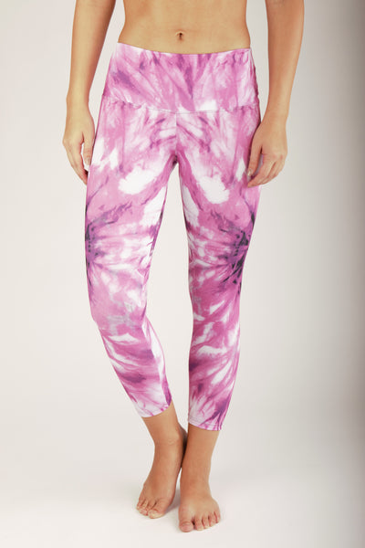 Pink tie dye Crop - light compression