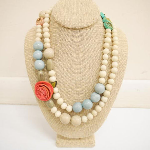 Amulet Necklace. Coral & Chalk White