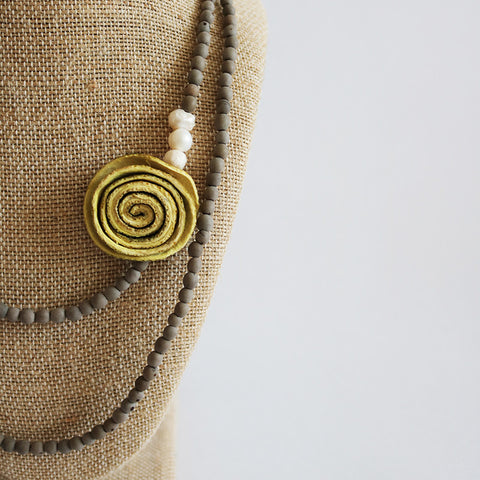 Getaway Necklace: Five in One . Cream Yellow & Sand