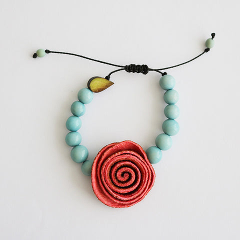 Rose Prayer Bracelet . Coral & Skyblue