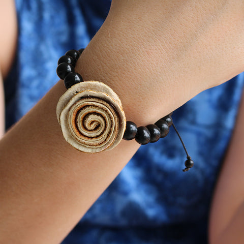 Rose Prayer Bracelet . Natural & Black