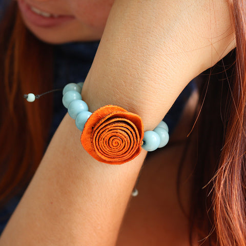 Rose Prayer Bracelet . Orange & Sky blue