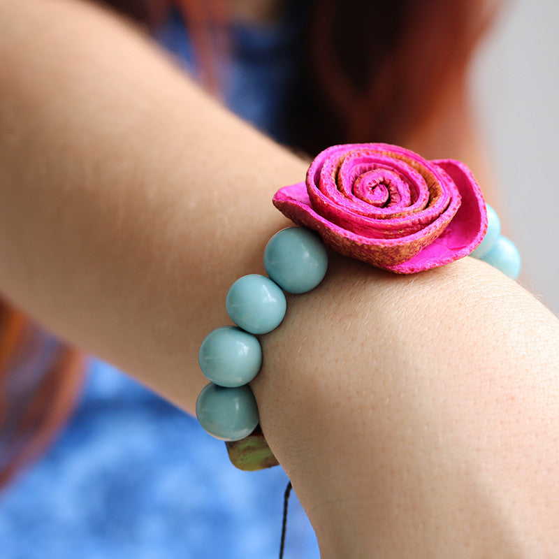 Rose Prayer Bracelet . Pink & Skyblue