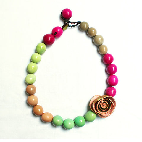 Color Block Necklace . Pale Rose Multi