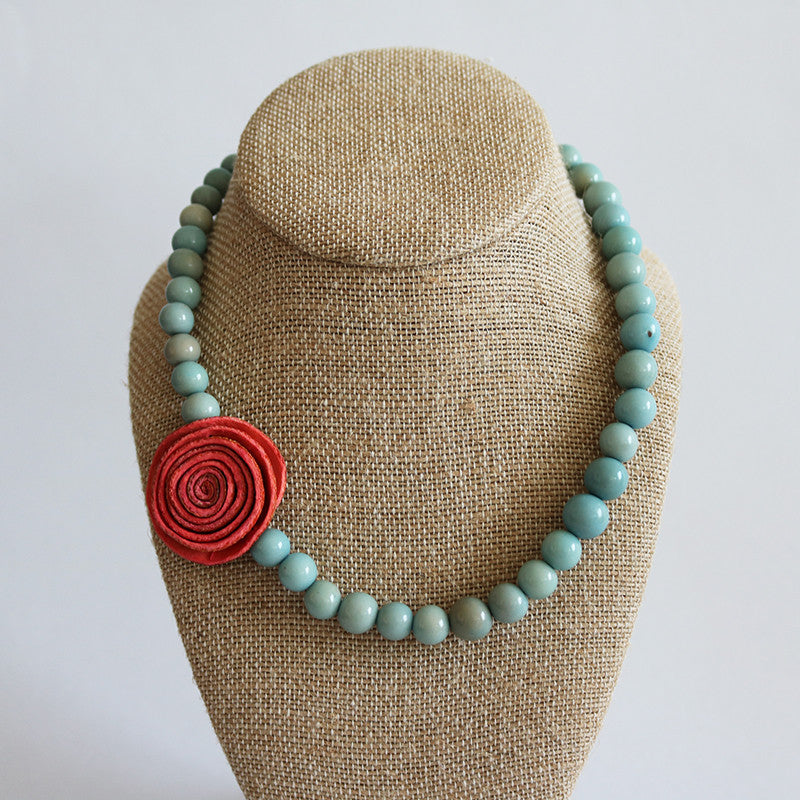 The Rose Dainty Necklace . Coral & Sky blue