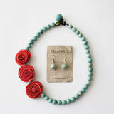 3 Rose Princess Necklace . Coral & Sky blue