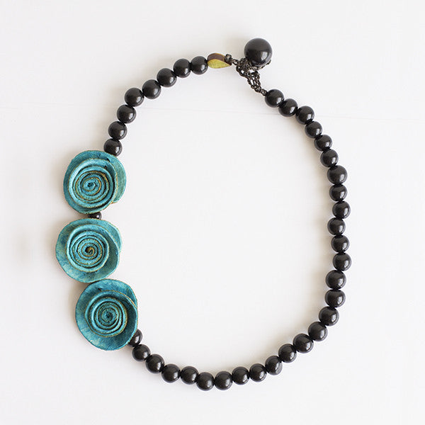 3 Rose Princess Necklace . Turquoise & Black