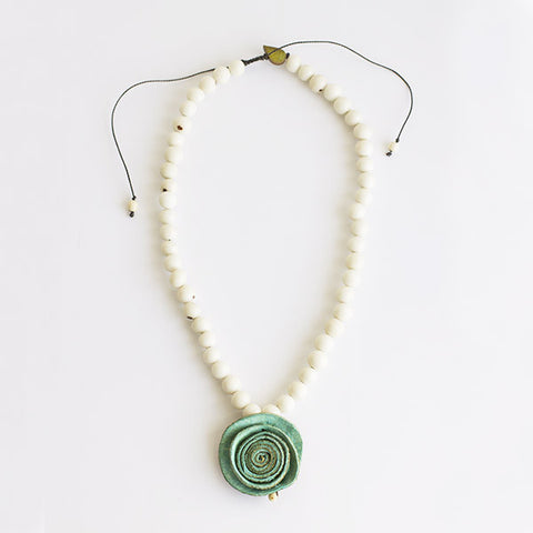 Joy Solitaire Necklace . Aquamarine & Chalk White