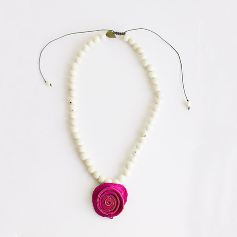 Joy Solitaire Necklace . Pink & Chalk White