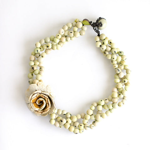 Flor Braided Necklace . Natural & Aquamarine