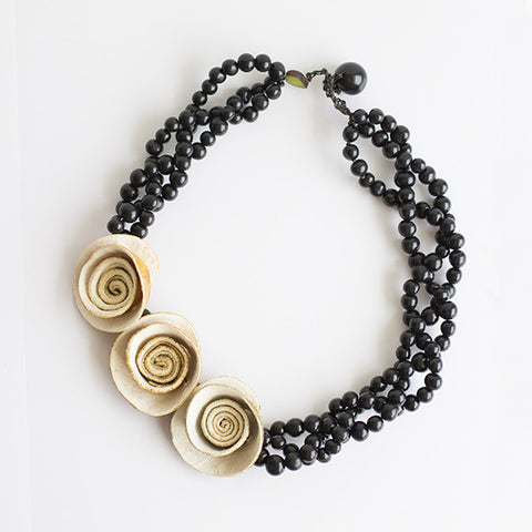 3 Rose Braided Necklace . Natural & Black