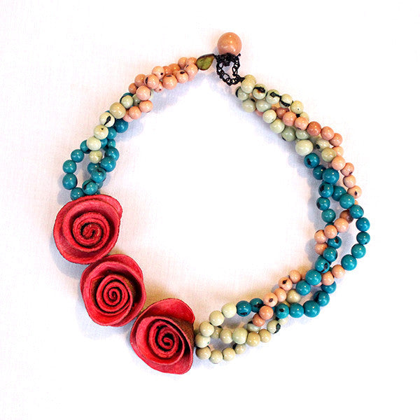 3 Rose Braided Rainbow Necklace . Coral & Turquoise Multi