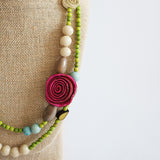 Charmed Getaway Necklace . Pink & Apple Green