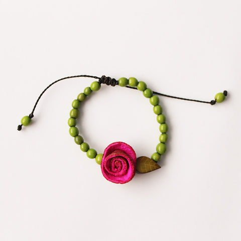 Garden Bracelet . Pink & Apple Green