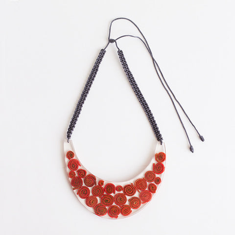Waning Moon Necklace . Red / Dark Gray Cord