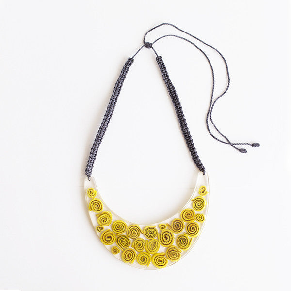 Waning Moon Necklace . Yellow  Dark Gray Cord