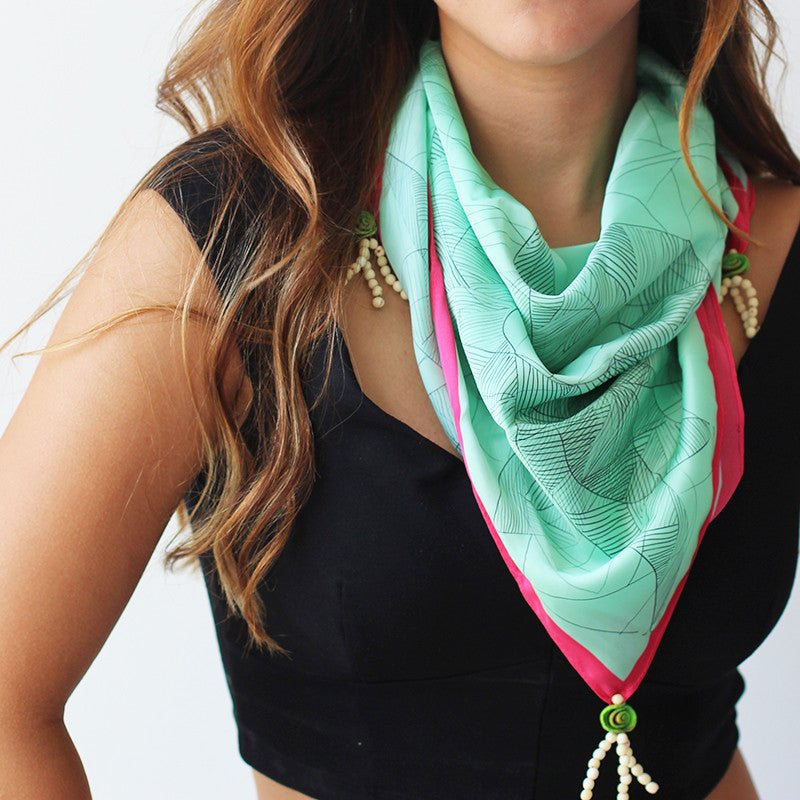 Ethnic Scarf/Head wrap. Aquamarine