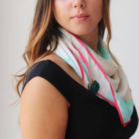 Watercolor Scarf/Head Wrap. Natural