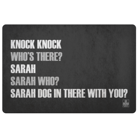 Knock Knock Joke Door Mat - Sarah