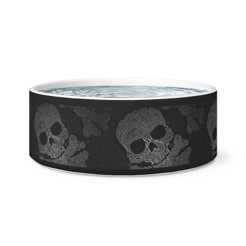 Paisley Skull Dog Bowl