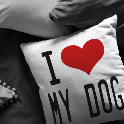 I (heart) My Dog Throw Pillow