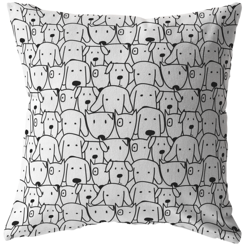 Hand Drawn Doggos Throw Pillow