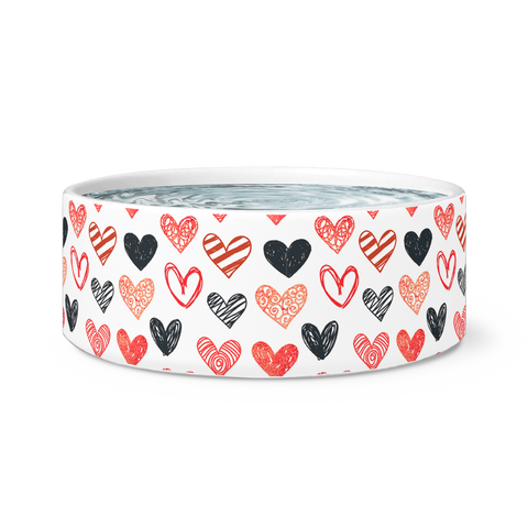 Hand Drawn Hearts Dog Bowl
