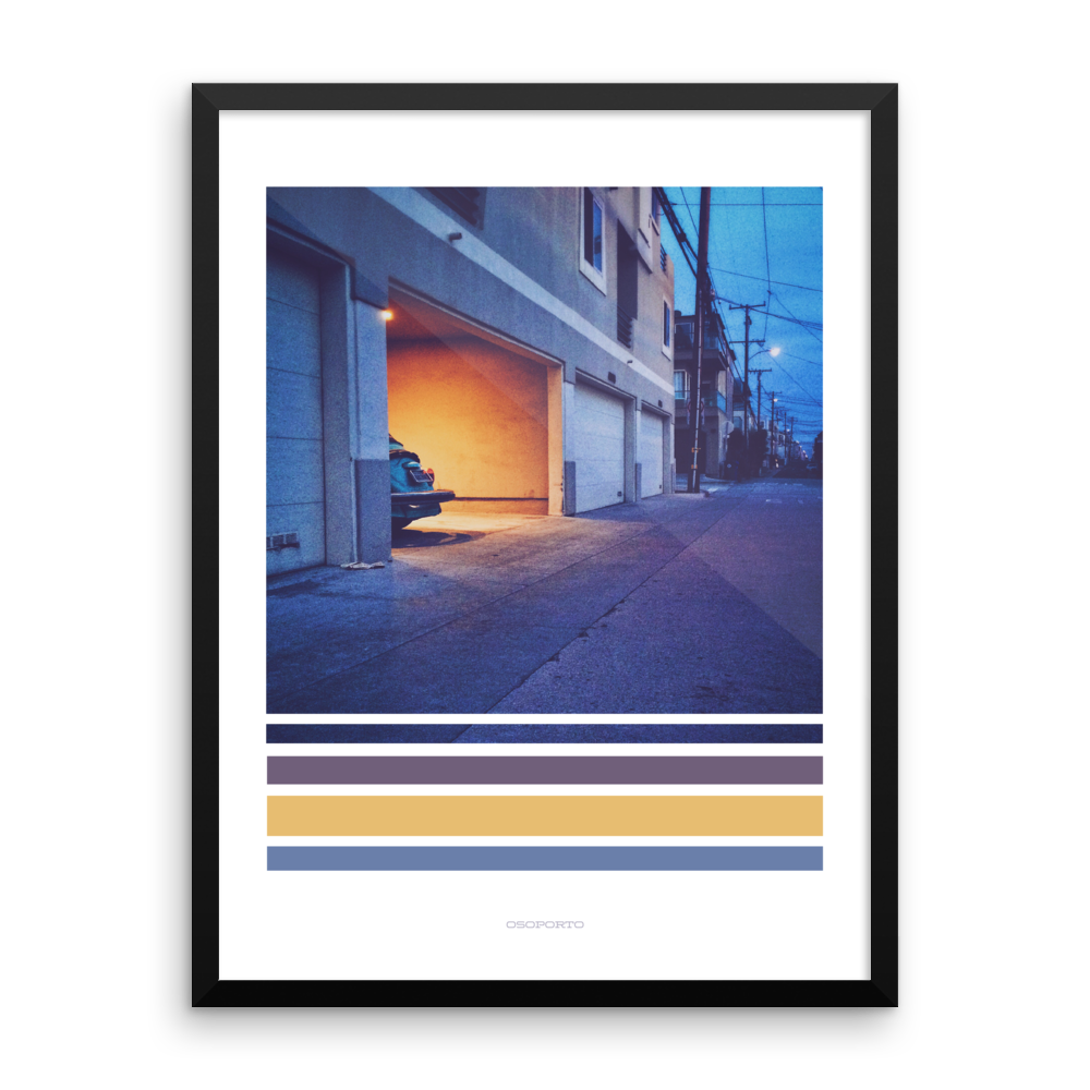 classic volkswagen bug beach town graphic framed poster