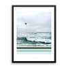 seagull with waves green graphic photography beach decor framed poster