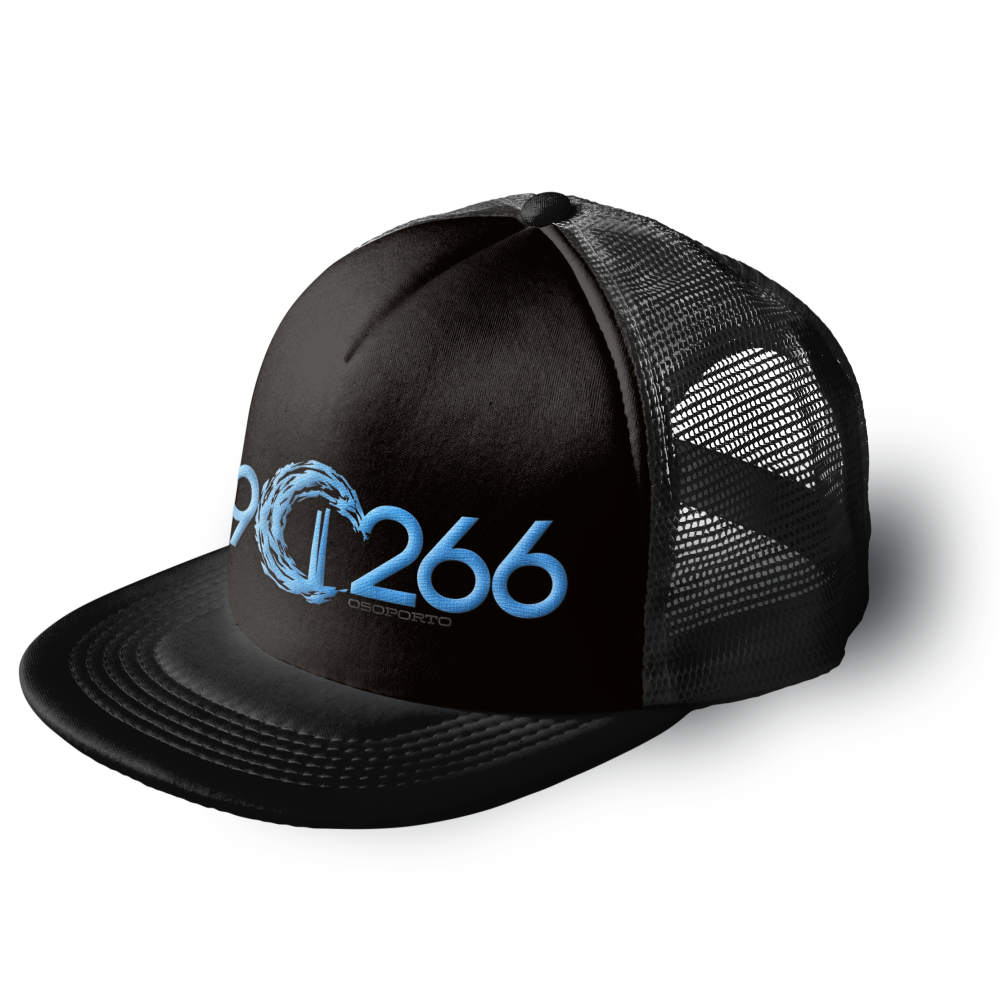 902662 trucker cap | black and aqua blue