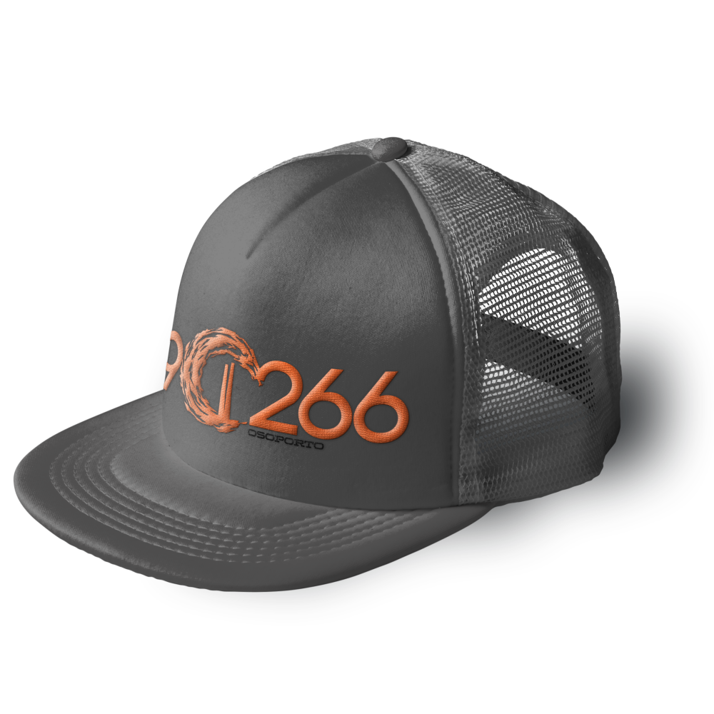 902662 trucker cap | gray and orange
