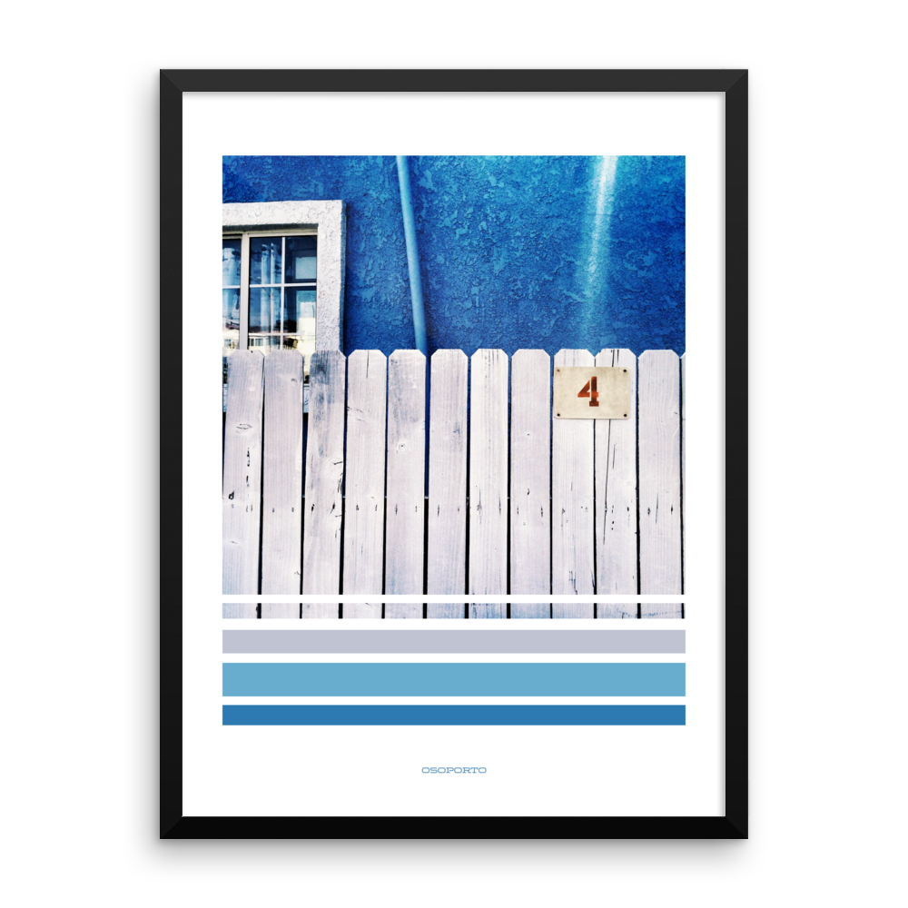 blue graphic poster with photography architecture
