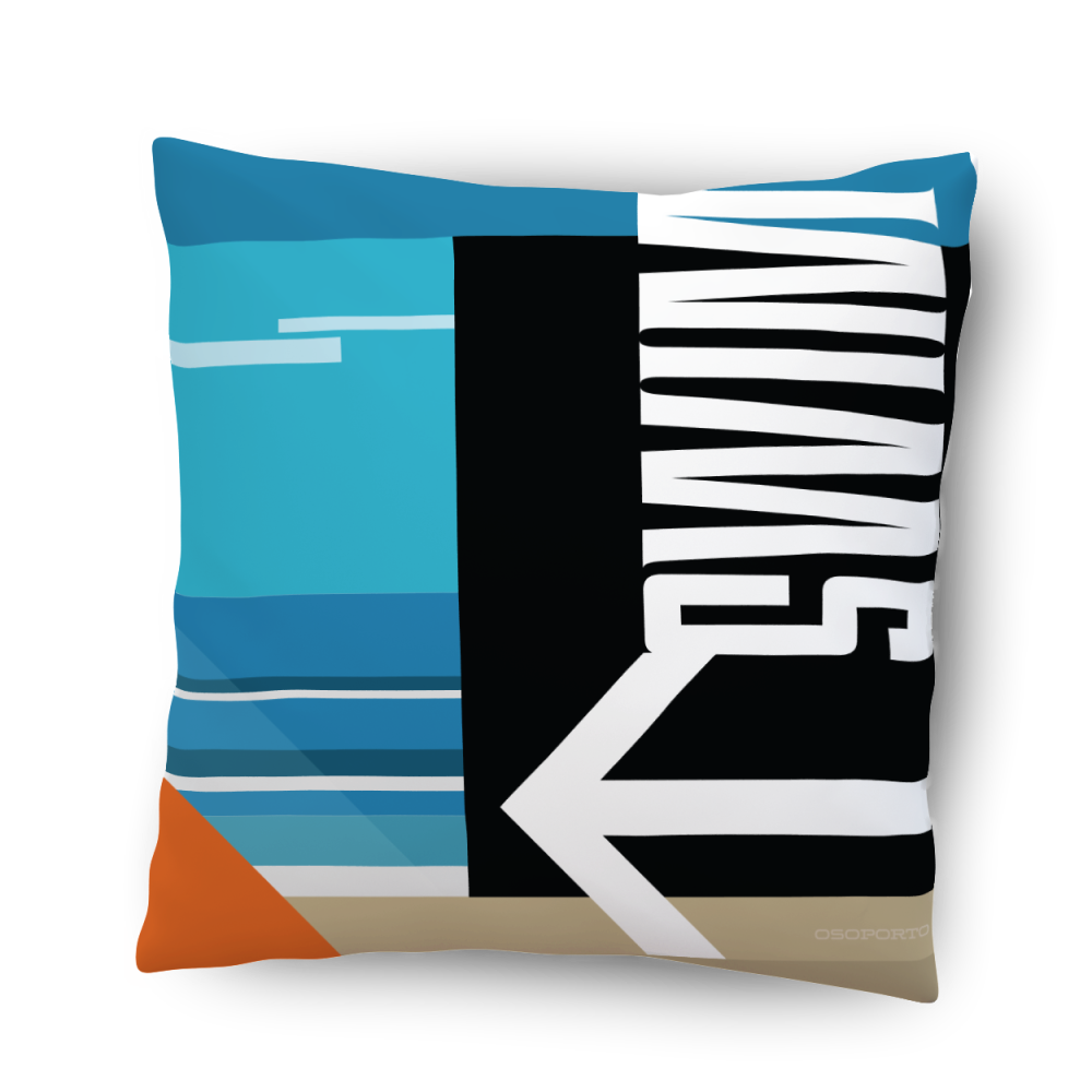 Swim or Surf California pillow home decor based on beach sign