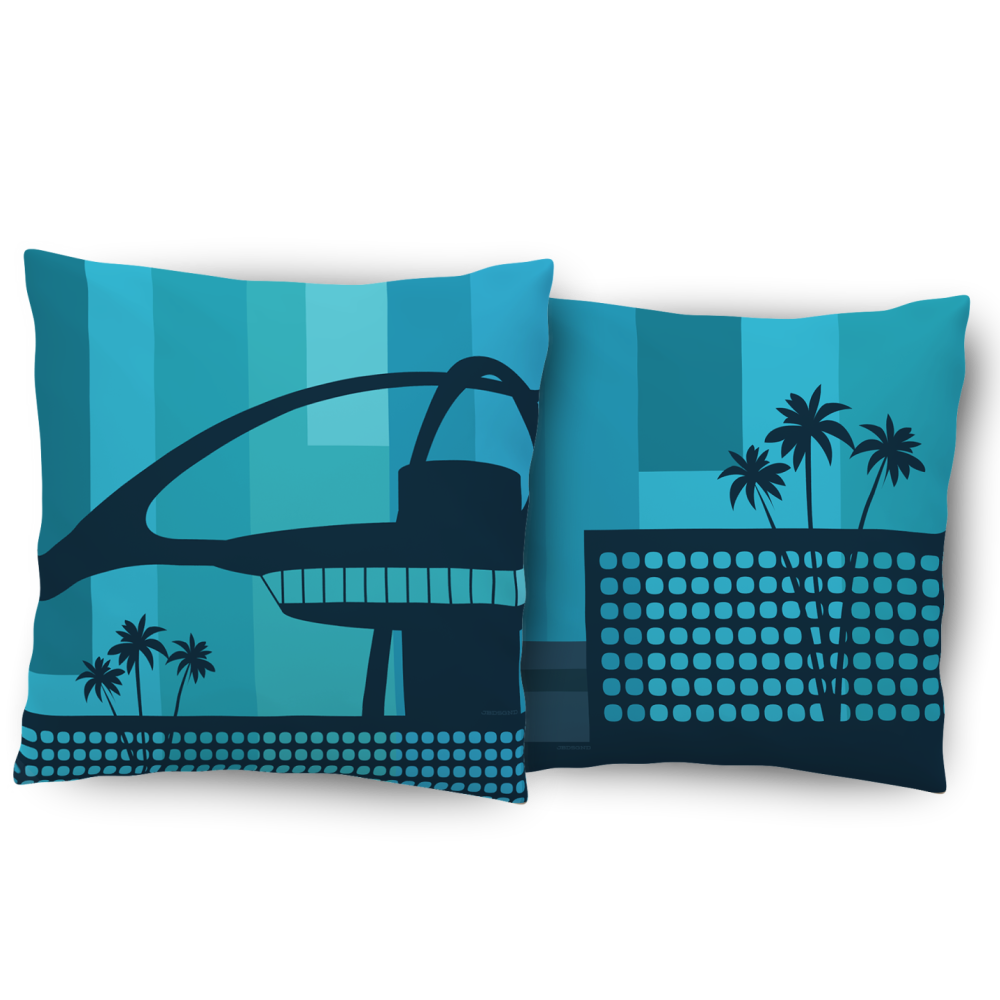 LAX Airport mid century modern theme building pillows
