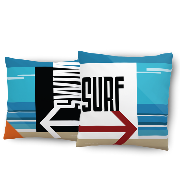 Swim or Surf California Beach Sign pillow home decor