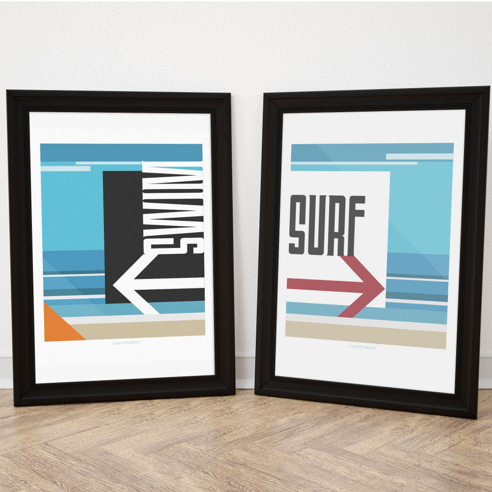Swim or Surf poster set modern minimal California Beach art