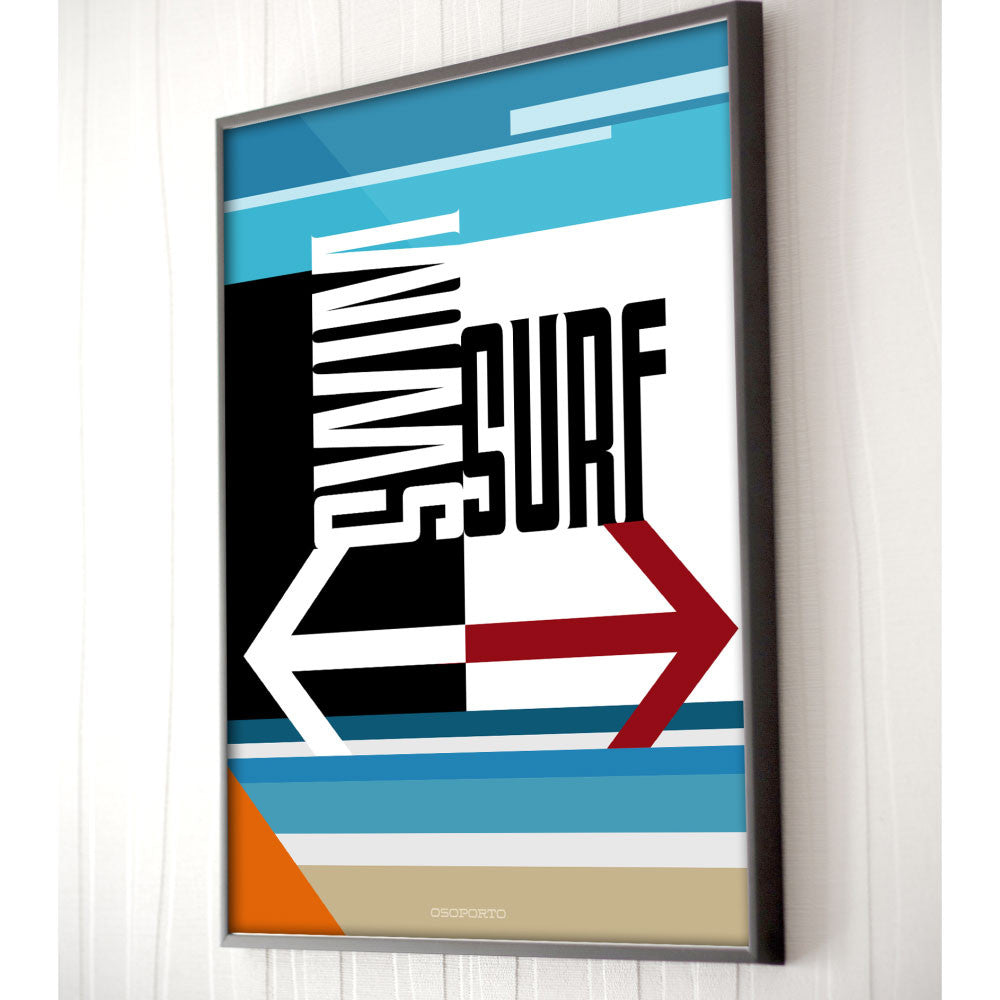 California beach sign Swim or Surf modern minimal art poster