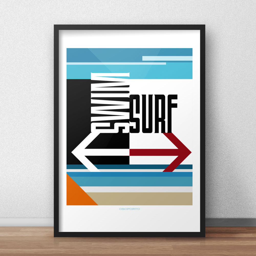 Swim or Surf modern minimal California art poster