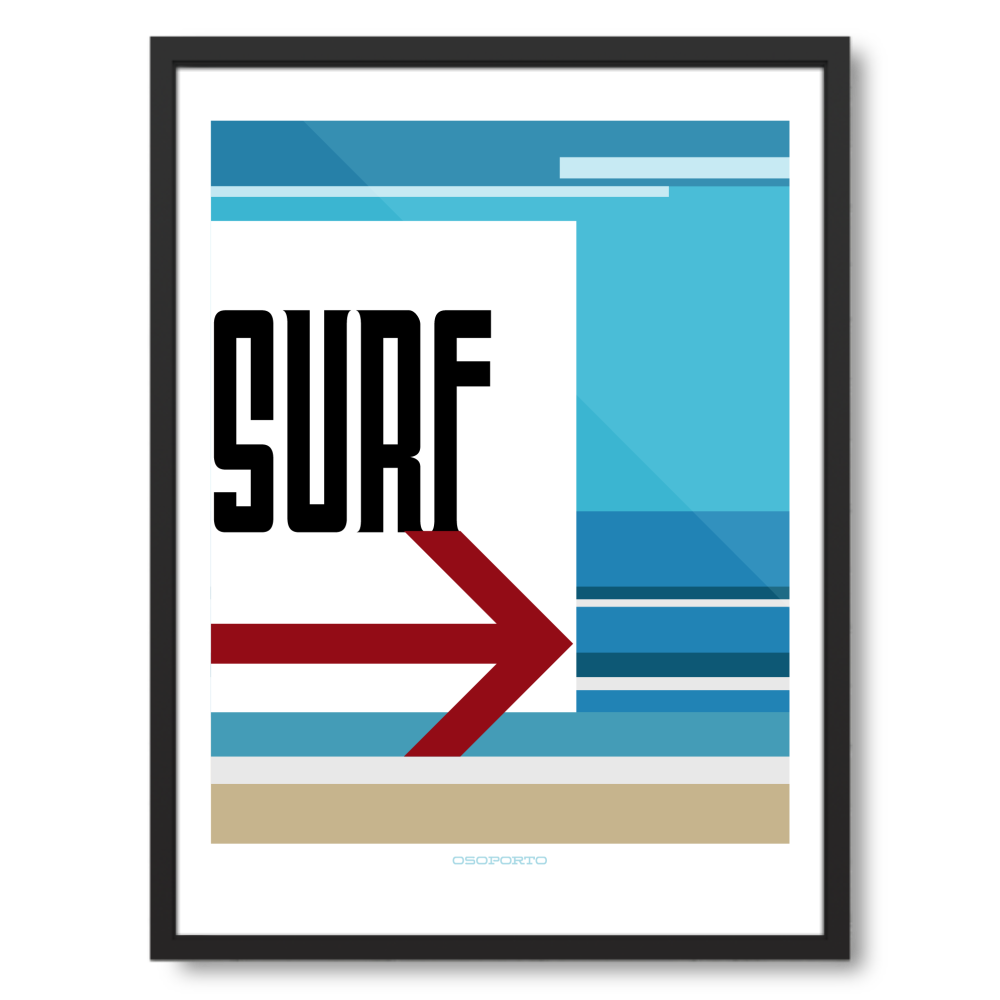 18x24 framed - Swim or Surf California beach sign poster set