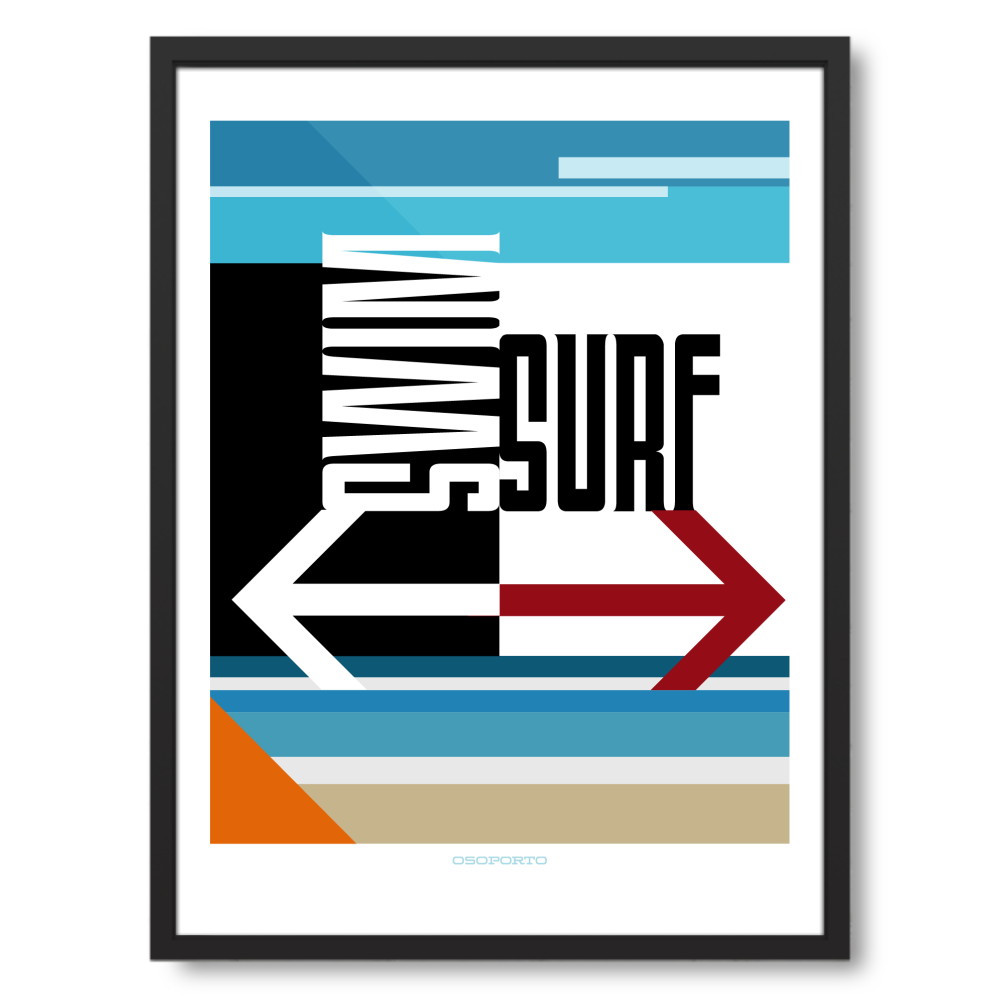 18x24 framed - Swim or Surf Sign Modern Minimal Art Poster