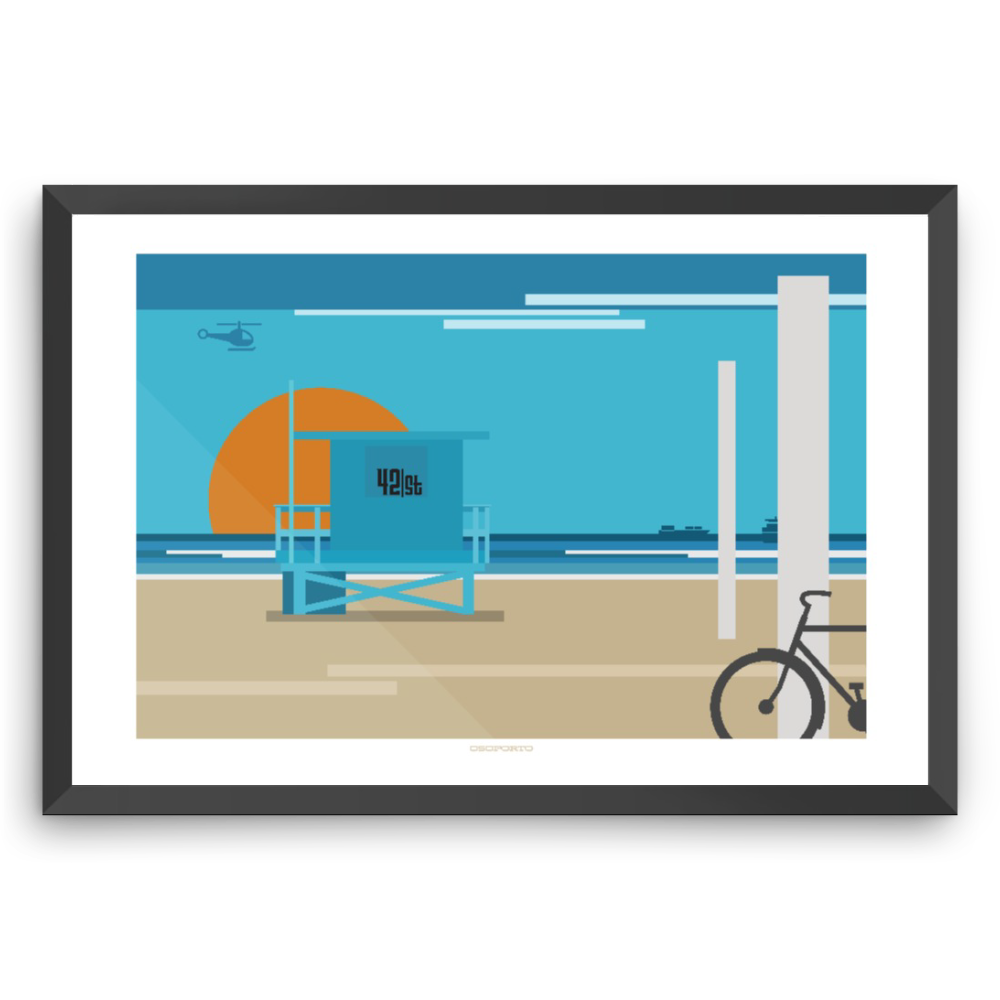 California lifeguard tower modern minimal beach life print