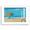 California beach lifeguard tower modern minimal art print