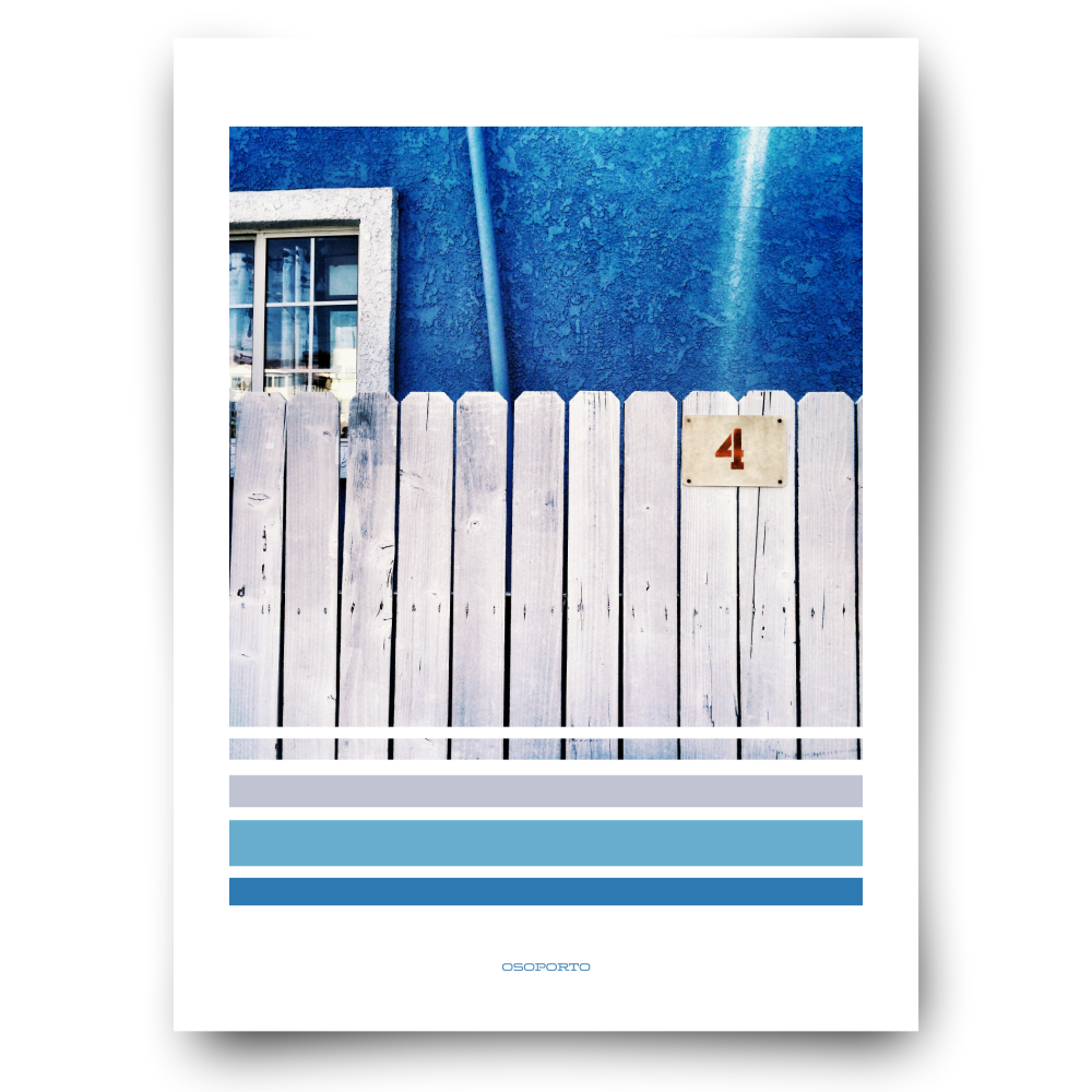 California beach town graphic photography blue fence poster